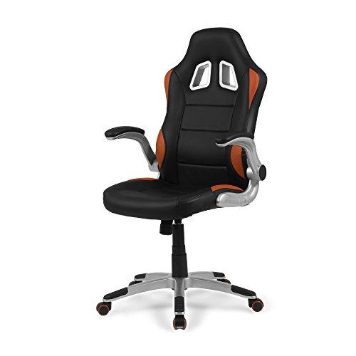 Due-home - Silla de Oficina Gaming, sillón Giratorio para Escritorio, Estudio o despacho, Color Rojo, Medidas: 70x115x68 cm de Fondo, Mugello