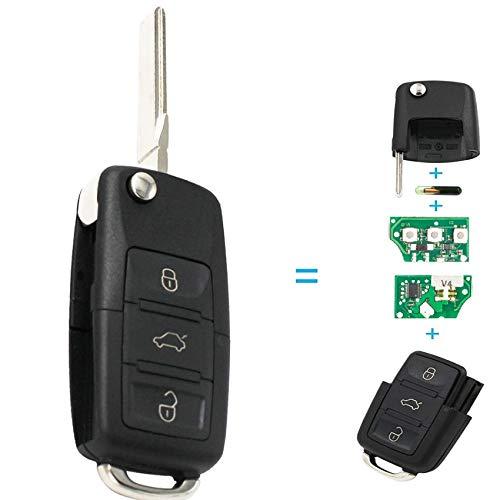 Ersatz Platine (1x Ersatz Klappschlüssel Schlüsselgehäuse 3 Taste Rohling HAA/HU66 + Platine 433Mhz + Transponder ID48 Chiavi 1K0 959 753 G Autoschlüssel Schlüssel Fernbedienung Funkschlüssel Gehäuse - INION)
