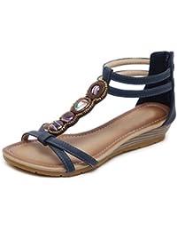 63b5e35f Ruiren Sandalias Romanas Ocasionales de Las Mujeres, Zapatos de la Cuña de  la Playa del