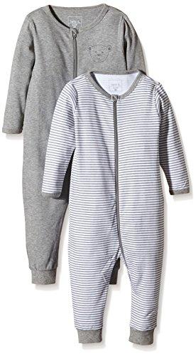 NAME IT Baby-Jungen Schlafstrampler NITNIGHTSUIT ZIP M NOOS, 2er Pack, Gr. 92, Mehrfarbig (Grey Melange)