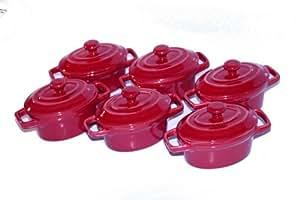Baumalu - Set di 6 mini cocotte ovali in ceramica da 8 cm, colore rosso