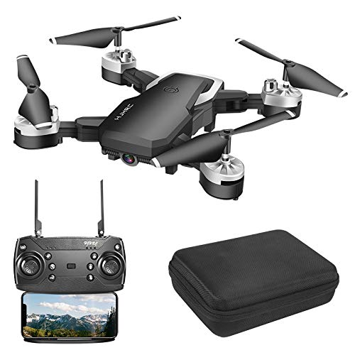Drohne mit kamera hd, Mini Drohne 1080P HD 4K WiFi FPV Live Übertragung ,RC Quadrocopter,App-Steuerung, One Key Start/Landung,Headless Modus,Gestensteuerung, Quick Shot, Live Video (Zwei Batterien)