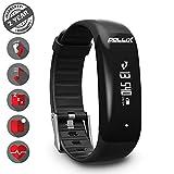POLLIX - Fitness Armband Uhr mit Pulsmesser u Schrittzähler, Activity Tracker IPX7 Wasserdicht Sport- Pulsuhr mit Musiksteuerung, Anruf, SMS, FB, Whatsapp Benachrichtigungen für iOS Android