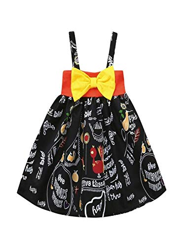 (Kinderbekleidung,Honestyi Infant Kleinkind Baby Mädchen Kürbis Bogen Party Kleid Halloween Kleidung Kleider (90,Schwarz))