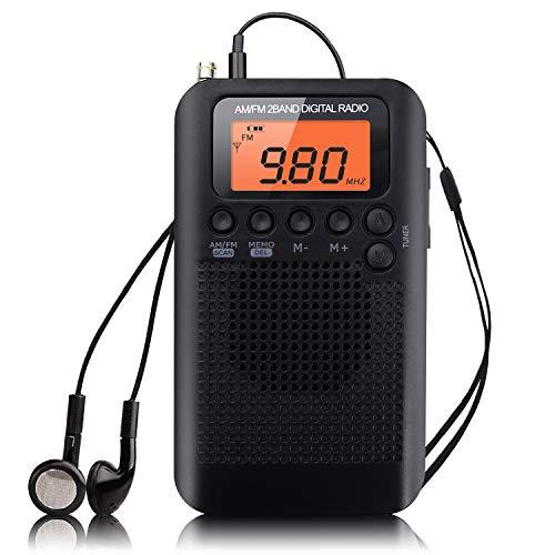 Radio Portátil Pequeña Mini Radio de Bolsillo Am FM Estéreo Sintonización Digital Radio con Altavoz de Sonido Reloj Despertador y Temporizador Auricular (Negro-NV)