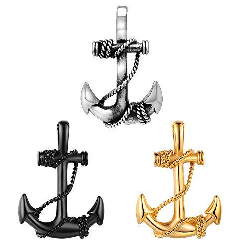 Feilok Edelstahl Anhänger Ankerkette Anker Nautisch Anhänger Kette Polishe Pirat der Karibik Segeln Halskette für Herren (Herren-gold-charms Für Halsketten)