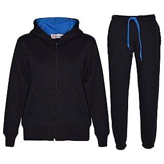 A2Z 4 Kids® Kids Tracksuit Girls Boys Contrast Fleece Hooded Bottom Jogging Suit - T.S Contrast Trim Black & Blue 3-4
