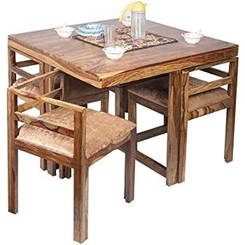 40316fe67 Ikiriya Sheesham Wood Compact 4 Seat Dining Table Set - Cushioned Chairs - ( Teak Finish   Ivory Velvet)
