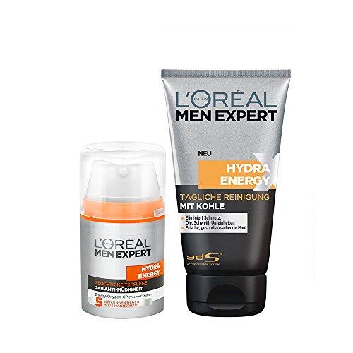 L'Oréal Paris Men Expert Hydra Energy Feuchtigkeitspflege Anti-Müdigkeit, 50ml + L'Oréal Paris Men Expert Hydra Energy Xtreme Reinigungsgel mit Kohle, 150 ml