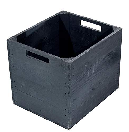 1x Vintage-Möbel 24 Schwarze Holzkiste für Kallax Regale 33cm x 37,5cm x 32,5cm IKEA Einsatzkiste Black Fach Obstkiste Weinkiste Aufbewahrungsboxen Vintage Natur Regal