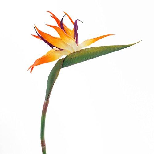 artplants – Künstliche Strelitzie Blume, Orange-Amethyst, 95 cm – Unechte Paradiesvogelblume/Plastik Deko Blüte