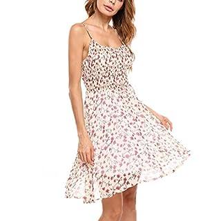 Zeagoo Damen Chiffon Kleid Strandkleid Blumen Druckkleid Bandeaukleid Floral Sommerkleid Spaghetti Trägerkleid, A-Weiss-2, 36 (Herstellergröße : S)