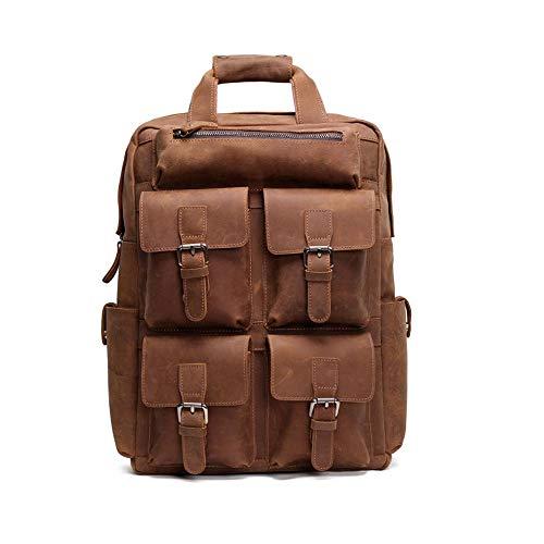ZHANGQIAO-EU Schulranzen Fashion Shopping, Handgefertigte Vintage Leder Rucksack Declamatory Spielraum-Rucksack-Spielraum-Rucksack Geschäft (Farbe : Brown, Größe : S) -