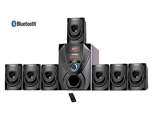 Vemax Hector 7.1 Bluetooth Multimedia Home Theater System with FM, AUX, USB, Bass & Treble Control (Black & Orange)