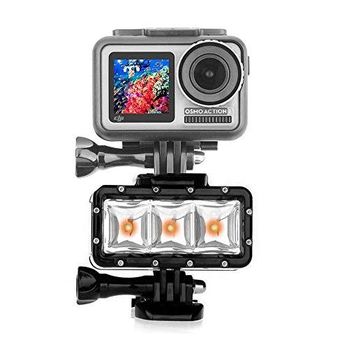 O'woda étanche Plongée LED lumière sous-Marine de Forte Puissance de lumière de Flash pour GoPro Hero 6/5/4/3/2, SJCAM/OSMO/YI Caméras d'action Accessoires