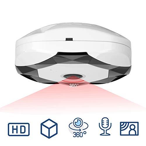 960P IP-Kamera, WLAN 360 Grad Überwachungskamera Panoramakamera mit IR Bewegungserkennung, Zwei-Wege-Audio, Nachtsicht Sicherheitssystem