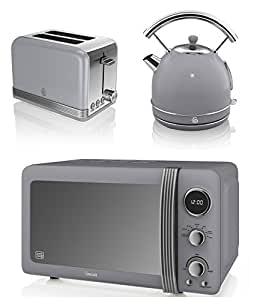 New swan kitchen appliance retro set grey digital 20l for Kitchen set kettle toaster microwave