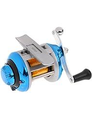 Gazechimp Carrete de Pesca Mosca de Hielo Arrojadizo de Cebo Anzuelo Exactitud Distancia Corecta Deporte Aire Libre - azul