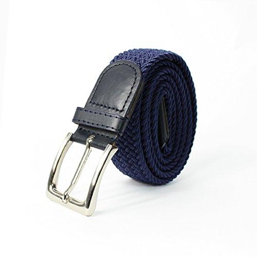 Glamexx24 Unisexe Tissu élastique Ceinture tressée Stretchbelt ceinture étirable pour les hommes et les femmes bleu foncé