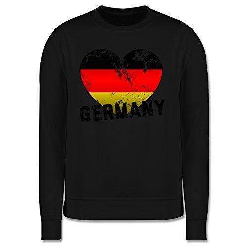 EM 2016 - Frankreich - Germany Herz Vintage - Herren Premium Pullover Schwarz