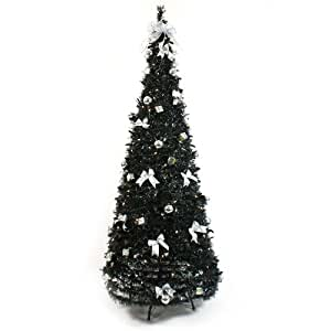 6Ft Pre Lit Artificial Pop Up Christmas Tree, Black with ...