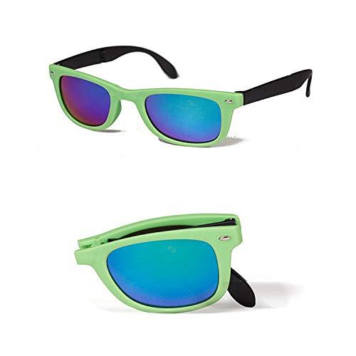 Vikimen Sports Eyewear, 8 Colors Folding Sunglasses Man Women Brand Design Folded Eyewear With Original BOX Foldable Glasses Unisex Sun Glasses Mirrored Green Kuang no box