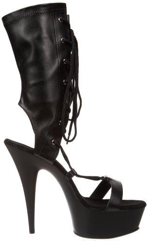 DELIGHT-600-38 Blk Faux Leather/ Blk