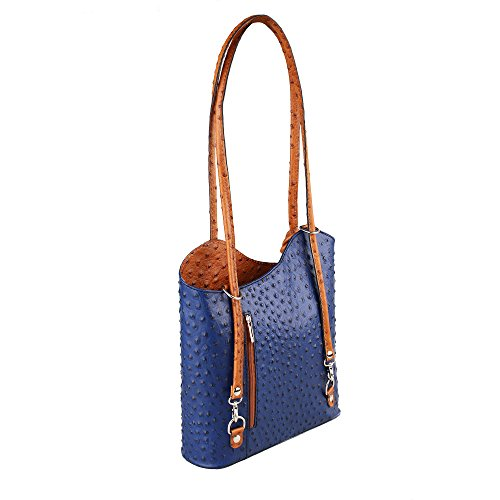Borsa A Spalla Donna In Struzzo In Vera Pelle Made In Italy Chicca Borse 28x30x9 Cm Royal Blue - Tan