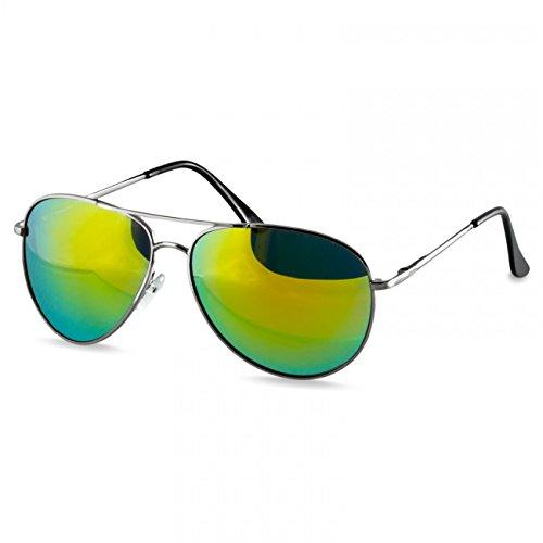 (Caspar SG013 klassische Unisex Retro Piloten Sonnenbrille, Farbe:silber/grün gold verspiegelt)