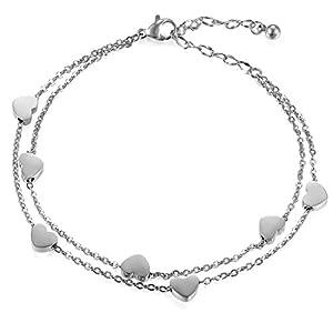 Cupimatch Damen Herzen Armkette in Farben Silber, Doppelt Kette Armband für Frauen Mädchen