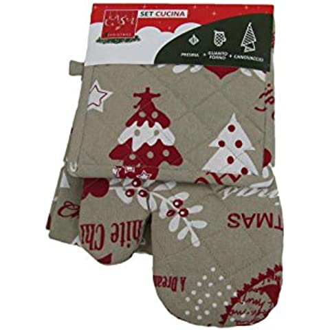 Viscio Trading C&X Canovaccio con Guanto Forno e Presina Lettera a Babbo Natale, Cotone, Beige, (Babbo Canovaccio)