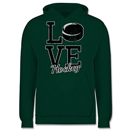Eishockey - Love Hockey - Männer Premium Kapuzenpullover / Hoodie Dunkelgrün