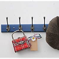 Wooden coat rack with traditional Victorian swan neck coat and hat double hooks BLUE