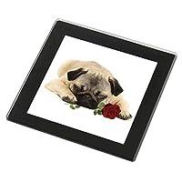 Advanta Group Pug Dog with a Red Rose Black Rim Glass Coaster Animal Breed Gift