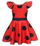 Vestito Costume Coccinella Miracolosa Bambina Ragazza Carnevale Vestiti Abiti Costumei Bambini Halloween Festa Compleanno Cosplay Abito (Rosso 4,120cm)