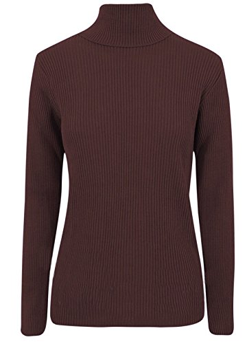 Maglione da donna a coste, con collo alto, a maglia, tinta unita Brown