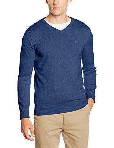 TOM TAILOR Herren Pullover Basic V-Neck Sweater Blau (Indigo Blue Melange 6803)