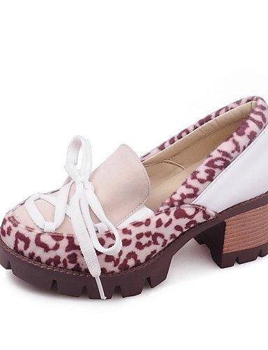 WSS 2016 Chaussures Femme-Habillé-Rouge / Blanc / Amande-Gros Talon-Talons / Bout Arrondi-Chaussures à Talons-Similicuir white-us5 / eu35 / uk3 / cn34