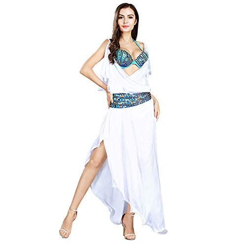 ROYAL SMEELA Frauen Kleid BH Gürtel Set Weißes Kleid mit Spaghettiträgern Zigeuner Stammes Volk Tanzkostüme Rumba Bohemien Damen BH Schnürgürtel Taillenkette Tägliche - Zigeuner Stammes Bauchtanz Kostüm