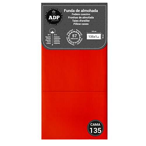 ADP Home - Funda almohada lisa 144 hilos 135 cm, rojo