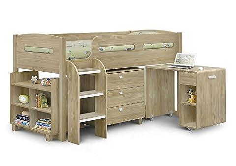 Happy Beds Kimbo Oak Mid Sleeper Kids Cabin Bed Sleep Station Storage Drawers with Orthopaedic Mattress 3' Single 90 x 190