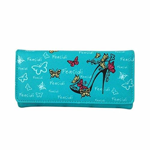 Kolylong Frau Bunt High Heels Muster Lange Brieftasche (18cm (L) * 9cm (H) * 3cm (W)) (Blau) (Heels Cute)