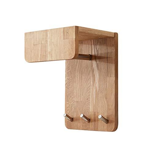 Estante pared madera roble compacto 3 ganchos metal