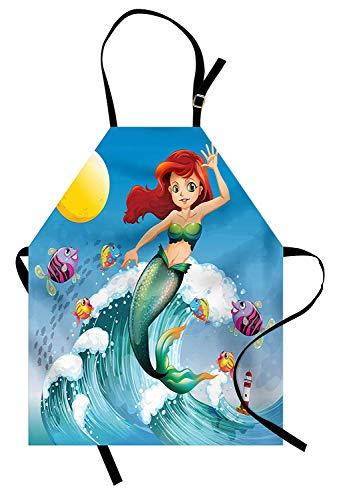Meerjungfrau-Schürze, Illustration der netten kleinen Meerjungfrau auf eine große Welle in der Brandung mit Fischen scherzt, Unisexküchen-Schürze mit verstellbarem Hals für das Kochen der backenden Ga