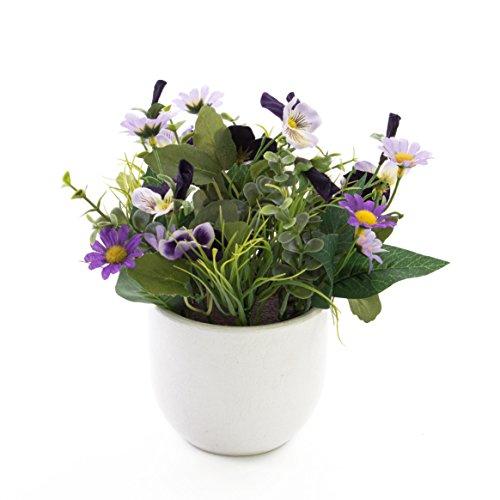 artplants Künstliche Stiefmütterchen und Margeriten Tamina im Topf, lila-gelb, 20 cm, Ø 23 cm – Kunstblumen/künstliche Blumen