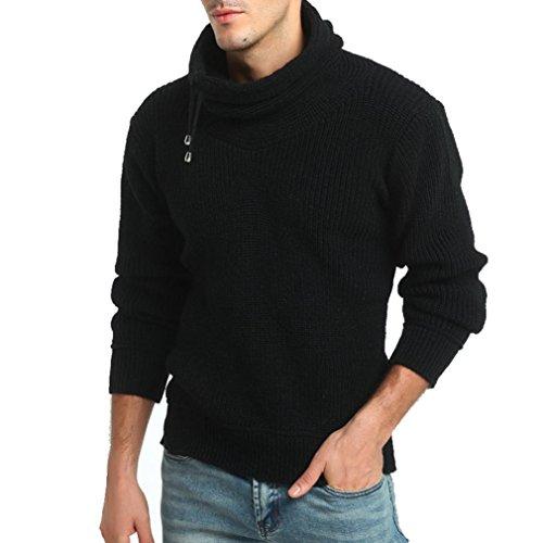Kostenlose Kinder Sweatshirt (FORH Herren Herbst Winter vintage stricken Rollkragen Pullover Loose Jumper Pullover Klassische Strickwaren Outwear Bluse (XXL, Schwarz))