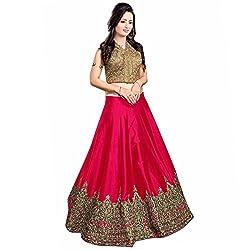 Maxthon FashionWomen's Rani Benglory Silk Unstitched Free Size XXL Lehenga Choli (Women's Indian Clothing Lehnga Choli 4070)