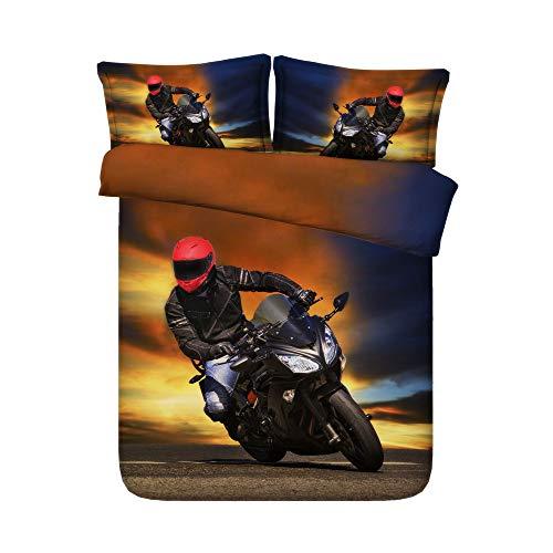 Sticker superb 135X200CM Modern Motorrad Treiber Bettbezug Set für Boy Man, Wohnheim Zuhause Wohnzimmer Baumwolle Bettbezug Set mit Kissenbezug (Motorrad Fahrer 1, 135_x_200_cm)