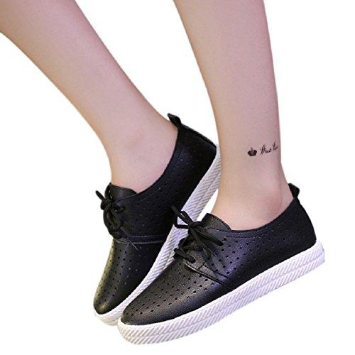 Transer® Damen Flach Mokassins Frühling/Herbst Casual Schuh PU+Gummi Sandelholz Slipper(Bitte eine Nummer größer bestellen. Vielen Dank!) Schwarz