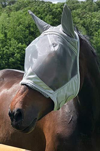 Harrison Howard CareMaster Pro Fliegenmaske UV-Schutz mit Ohrenschutz Silber Vollblut (M)